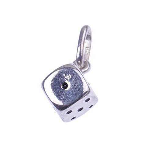 Cadena de plata de ley con colgante de rhodniert Diseno Dados de jewel24