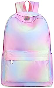 School Backpack, Gradient Color Shoulder Bags, Casual Laptop Book Bag Girls Teenage Travel Daypack Rucksack
