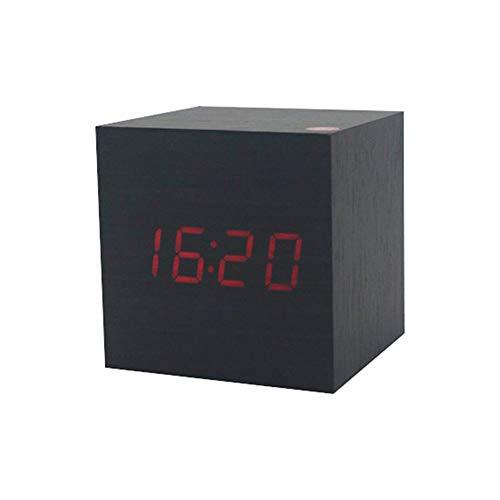 XKBESTGO Digitaler Wecker aus Holz LED-Licht Mini Modern Cube Wecker für Schlafzimmer