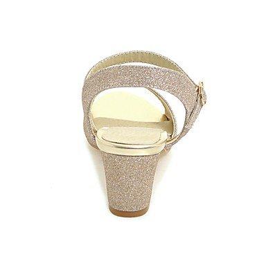 pwne Donna Comfort Tacchi Materiali Personalizzati Estate Frizzante Casual Glitter Chunky Heel Nastro Oro Nero 2A-2 3/4In US6 / EU36 / UK4 / CN36