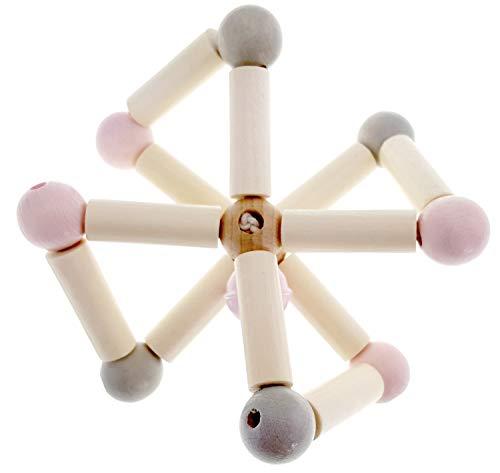 Hess Holzspielzeug 11120 - Rassel aus Holz, Twist nature rosa, ab 3 Monate, ca. 8 x 8 x 6 cm, Geschenk zur Geburt oder Taufe