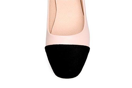 VogueZone009 Damen Ziehen Auf Quadratisch Zehe Niedriger Absatz Gemischte Farbe Pumps Schuhe Pink
