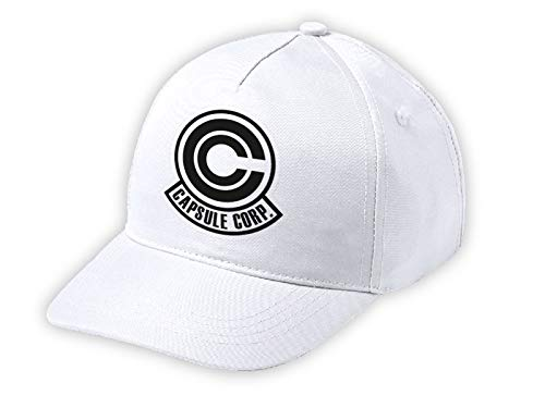 MERCHANDMANIA Gorra NIÑO Logo Capsule Corp Dragon Ball Blanca Kid Cap