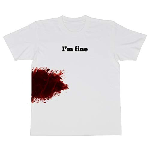 es Halloween I \ 'm Fine Brief Drucken Blooded T-Shirt Frauen Kurzarm Top White M ()