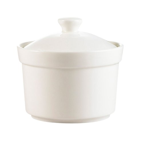 CAC China CAS-B10 10-Ounce Porcelain Round Soup Bowl with Lid, 4 by 2-3/8-Inch, Super White, Box of 24