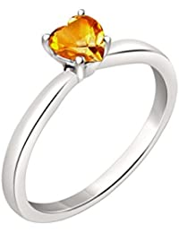 Silvernshine 7mm Heart Cut Citrine Solitaire Engagement Ring 4 Prong In 14K White Gold Plated