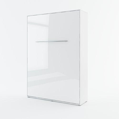 Schrankbett CONCEPT PRO Wandklappbett - Vertikal (140x200 cm, weiß hochglanz)