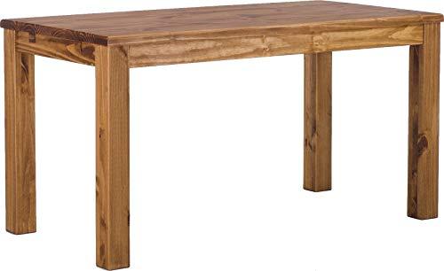 Brasilmöbel Esstisch Rio Classico 140x80 cm Brasil Massivholz Pinie Holz Esszimmertisch Echtholz Größe und Farbe wählbar ausziehbar vorgerichtet für Ansteckplatten
