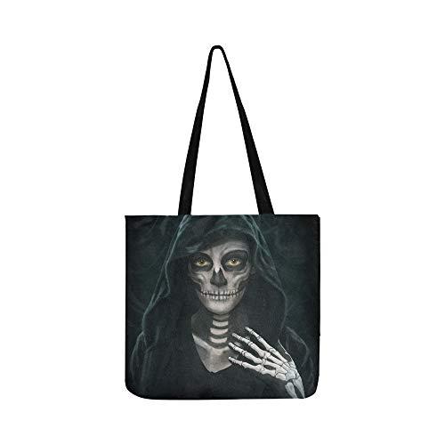 Halloween konzept make-up mädchen bild leinwand tote handtasche umhängetasche crossbody taschen geldbörsen für männer und frauen einkaufen ()