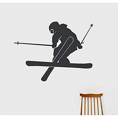 Kunst Wandaufkleber Abnehmbare Dekoration Sport Silhouette Applique E-Co Freundliche Vinyl Wandaufkleber Sport Teen Schlafzimmer Freestyle Ski Aufkleber Za682 74X56Cm (Freestyle-ski-poster)