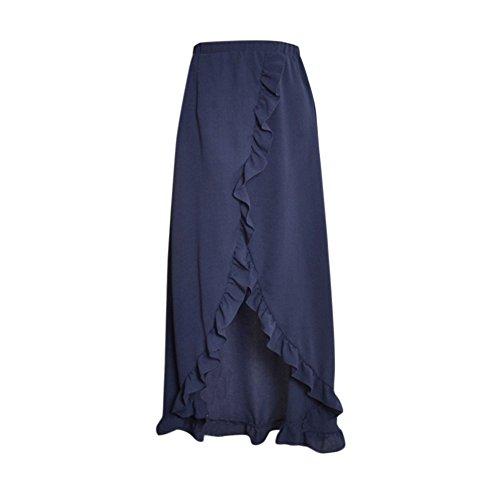Damen Rock Asymetrisch Volant Schleife Strandkleid Sommerkleid Hoher Taillenschlitz Lang