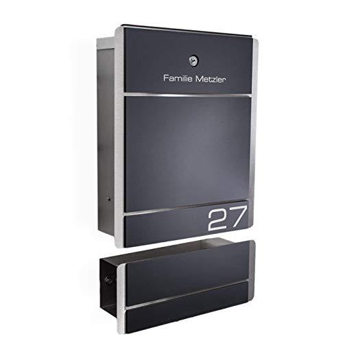 Metzler-Trade® Briefkasten Edelstahl Anthrazit - 38,5 x 33 cm groß - mit Gravur Beschriftung Hausnummer & Name - RAL 7016 - zur Wand-Montage (mit Zeitungsfach)