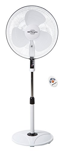 Orbegozo SF 0243 - Standing fan, oscillating, Power 48 W, 3 speeds, propeller diameter 40 cm, handle, programmable, 3 Operating Modes, Remote Control, Metallic, White
