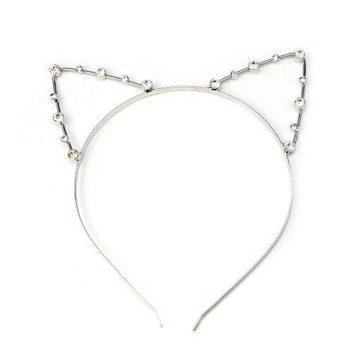 Katzenohren Haarreif Ohren Kostüm Haar Reif Haarband Spange Katze Strass (Katze Haar Kostüm)