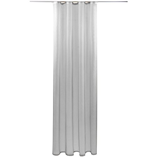 Gardine mit Kräuselband, Transparent Voile 140x245 cm (Breite x Länge) in grau - lichtgrau, viele weitere Farben und Größen