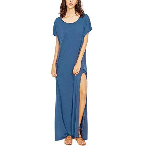 Go First Beiläufiges Einfaches Einfaches T-Shirt Der Frauen Lösen Kleid-Sommer-beiläufiges Loses Gestreiftes Langes Kleid-Kurzschluss-Hülsen-Taschen-Maxi-Kleid (Color : Marine, Size : X-Large)