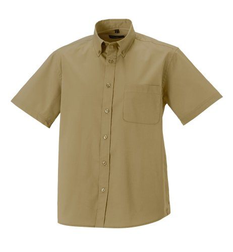 Z917M Russell Collection Kurzärmeliges Twill-Herrenhemd - bis Gr. 4XL Khaki