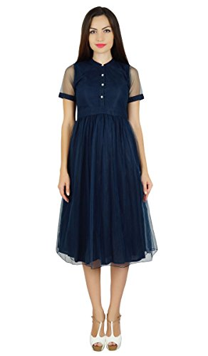 Bimba robe de changement net de la marine avec des pure pouf robes midi chics bleu marin