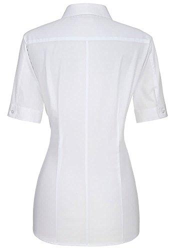 ETERNA Kurzarm Bluse SLIM FIT unifarben Weiß