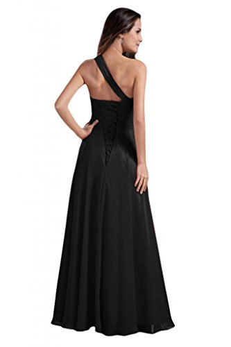 Sunvary donna in Chiffon Una spalla A-line abiti da sera o da festa della mamma Black