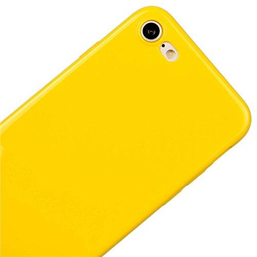 iPhone 7 Hülle, Yokata Einfarbig Jelly Weich Silikon Gel Case Ultra Slim Matte Cover Anti-Fingerprint Schutzhülle Sehr Dünn Handyhülle - Lila Gelb