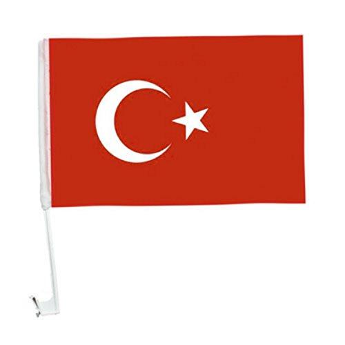 1 x Autofahne Autoflagge 45 x 30 Türkei Fahne Fahnen Flagge Flaggen EM 2016 mit Halterung