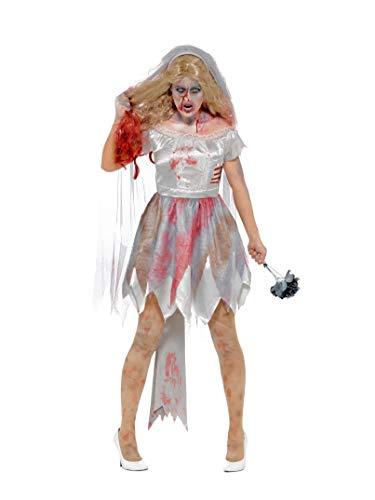 Smiffys Damen Deluxe Zombie Braut Kostüm, Kleid mit Rippenwunde, Schleier und Stauß, Größe: 40-42, 44578 (Ideen Braut Halloween-kostüm Zombie)
