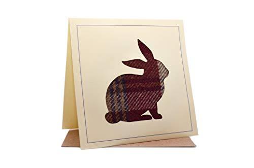 Lambacraft Geburtstagskarte mit Kaninchenmotiv, Tweed, Schottenwolle, Stoffsilhouette, blanko, Innenteil 1 Einheiten