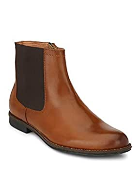 Delize Black/Tan Chelsea Ankle Boots for Men's (7, Tan)