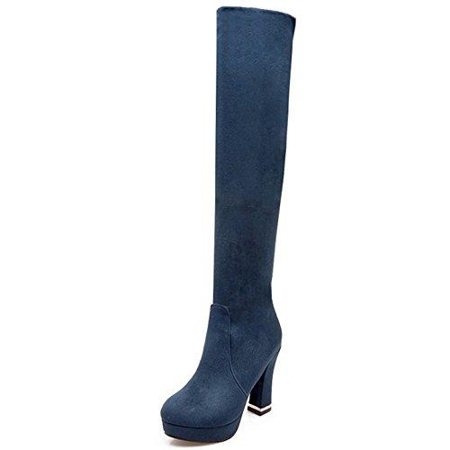 Hautes Femmes Epais Taoffen Talons Bottes 1401 Automne Blue qwnZv1P