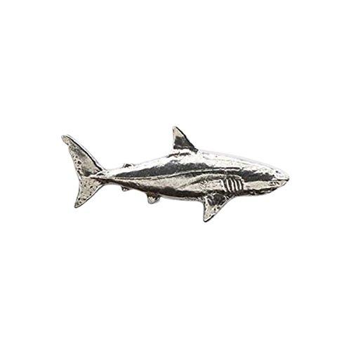 In peltro, a forma di squalo, colore: salmone Pin-Spilla da bavero, S126