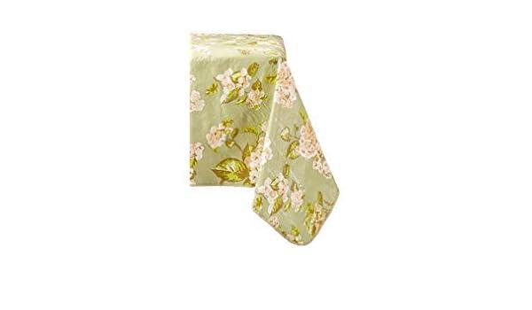 52 x 70 Farberware AA6030 Vinyl Spill Proof Outdoor//Indoor Hydrangea Flower Design Oblong Tablecloth Sage