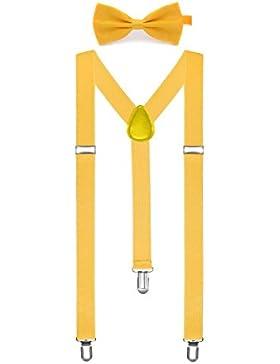 BOOLAVARD Color sólido Mens Liga pajarita Set Clip en la forma Y tirantes ajustables