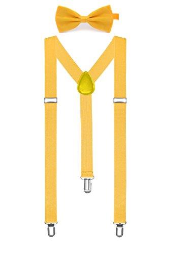 BOOLAVARD Volltonfarbe Herren Hosenträger Fliege Set Clip in Y-Form verstellbare Hosenträger (Lange Hose Kleid Herren)