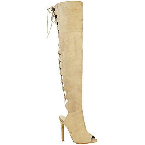 Damen Overknee-Stiefel mit Schnürdetail - Peep Toe - Cremefarben Veloursleder-Imitat - EUR 37 (Veloursleder-wedge-stiefel)