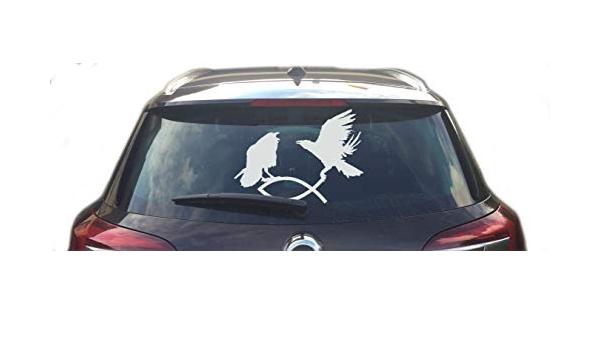 Raben Greifen Christenfisch Heckscheibenaufkleber Auto Aufkleber Hugin Munin Weiß Bekleidung
