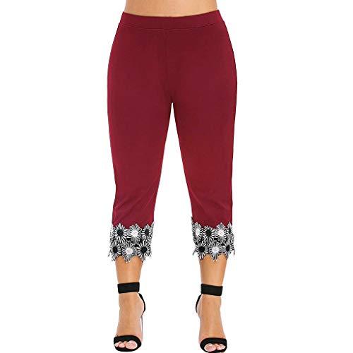 ABsoar Große Größe Legging Beiläufige Art und Weise Sweathose Frauen Elastische Taille Plus Größen Hohe Taillierte Applique Gamaschen Hose - Batik-applique