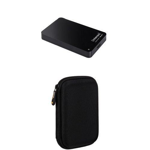 Intenso Memory Play 1TB externe TV-Festplatte (6,35 cm (2,5 Zoll), 5400rpm, 8MB Cache, USB 3.0) inkl. TV-Halterung schwarz und AmazonBasics Schutzhülle für externe Festplatten
