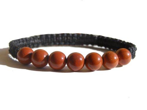 ZENstore Jaspis rot Shamballa Armband 17-21 cm Unisex, Edelstein, Rot Rotes Shamballa Armband