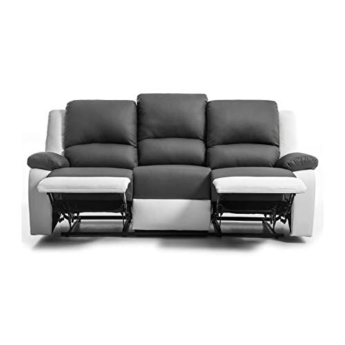 Générique Relax canapé Droit de Relaxation en Simili et Tissu 3 Places - 190x93x96 cm - Gris et Blanc