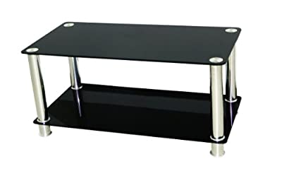 Premier AV Black Glass Coffee Table & LCD/LED/PLASMA TV STAND Up To 42 Inch - inexpensive UK light store.