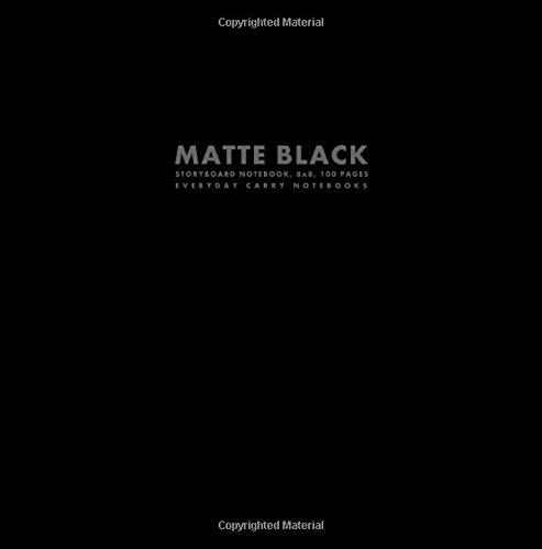 Matte Black Storyboard Notebook, 8x8, 100 Pages (Big Square Sized Notebooks)