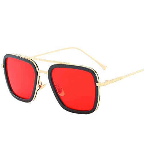 Retro Sonnenbrille Tony Stark Brillen Quadratische Metallrahmen für Männer Frauen Klassiker Sonnenbrille Piloten Gläser,03