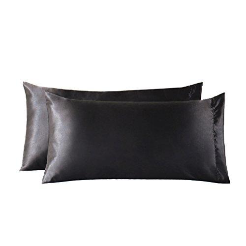 Bedsure Satin Kissenbezüge 40 x 80 cm Schwarz - 2 Stück Kopfkissenbezüge aus hochwertige Mikrofaser für Haar- und Hautpflege (Das Blatt Menschen, Bettwäsche)