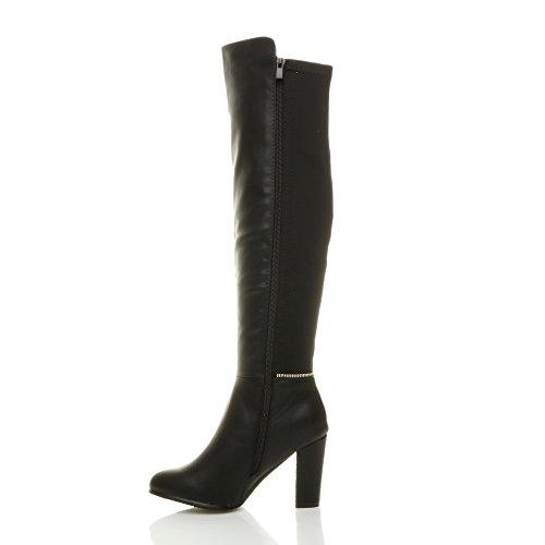 Damen Hohe Blockabsatz Gold Reißverschluss Elastisch Overkneestiefel Größe Schwarz Matt