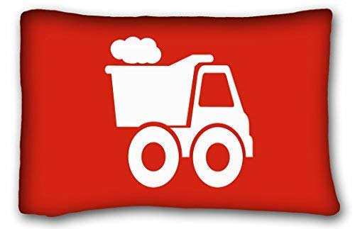 Jxrodekz Custom Dump Truck in Red White Pillow Case Cases Cover Cushion Covers Sofa Size 20x30 Inches Two Side