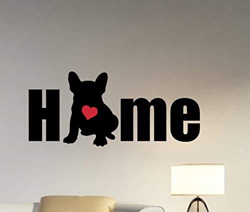 Dalxsh Hund Silhouette Wandtattoo Zitat Home Vinyl Französisch Bulldog Wandaufkleber Wohnzimmer Kunstwand Pet Puppy Entryway Dekoration 56X25 Cm (Wallpaper Halloween Puppy)
