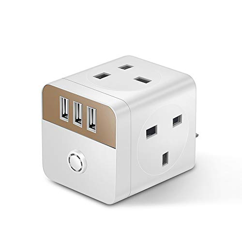 Mscien 4 Way UK Plug Extension Surge Protected Multi Power Strip With 3 USB Ports(White+Gold)