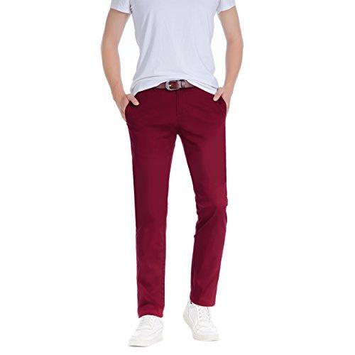 Herren Robelli Slim gerader Schnitt 100% Baumwolle Designer Chino Hose dunkel Crimson