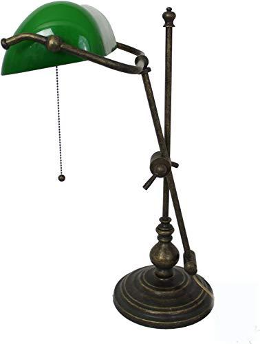 Messing Banker Lampe (Banker Lampe massiv Messing brüniert 50 cm höhenverstellbarJugendstil)